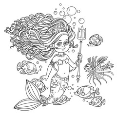 Beautiful mermaid girl surrounded by a fish holds a trident outl