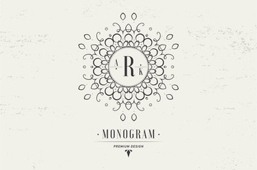 Monogram letter R. Luxury logo