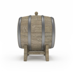 Barrel for homemade alcohol isolated 3d rendering