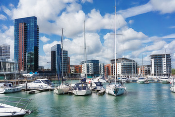 Luxury yachts and apartments at Southampton's Ocean Village marina
