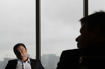 Carlos Ghosn, chairman and CEO of Nissan and Renault, speaks during an interview with Reuters in Tokyo