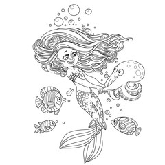 Beautiful little mermaid girl dancing with an octopus outlined isolated on white background