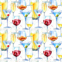 Seamless pattern of a champagne,cognac, wine,martini, beer and glass. Painting of a alcohol drink and splash .Watercolor hand drawn illustration.Beverage border.White background.