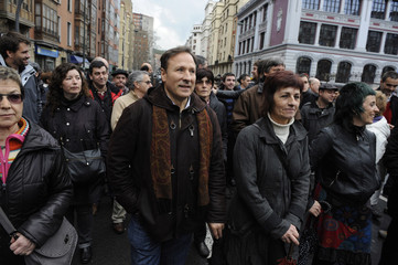 Spokesman for Sortu Inaki Zabaleta takes part in a demonstration in support of Basque political party Sortu in Bilbao