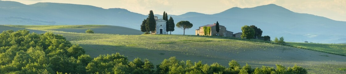 panorama with old chapel in morning light in Tuscany Wall mural