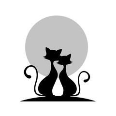 Loving couple of cats monochrome icon, vector illustration.