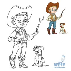 Cute boy in cowboy costume play with dog coloring page on a white background