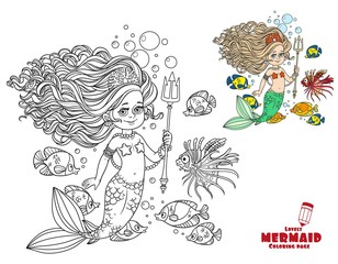 Beautiful mermaid girl surrounded by a fish holds a trident coloring page on a white background