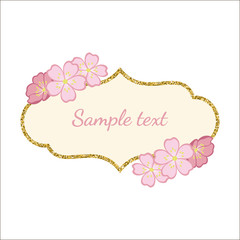Golden glitter frame with branches of cherry blossoms. Vector illustration.