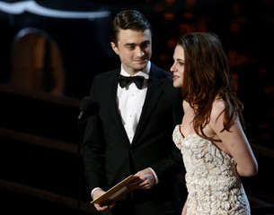Daniel Radcliffe and Kristen Stewart present an award at the 85th Academy Awards in Hollywood
