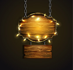 Wooden boards with lights