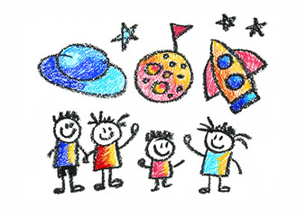 Kids drawing Space Children education, school, kindergarten Play Study Learn Boys and Girls