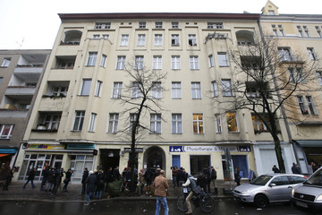 A general view shows the apartment house where David Bowie was living in 1976-78, in Berlin