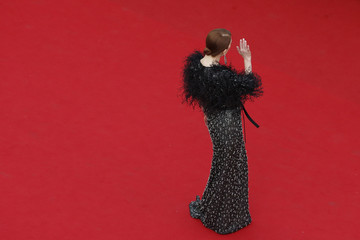 """Actress Julianne Moore poses on the red carpet as she arrives for the opening ceremony and the screening of the film """"La tete haute"""" out of competition during the 68th Cannes Film Festival in Cannes"""