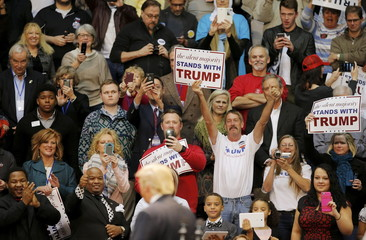 Supporters cheer for republican presidential candidate Donald Trump during a campaign event in Rock Hill