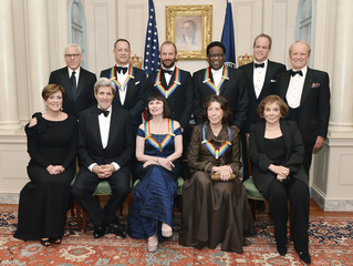 2014 Kennedy Center Honorees join Secretary of State Kerry and Kennedy Center officials for a group photo after a gala dinner at the US State Department in Washington