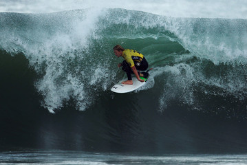 John John Florence of Hawaii surfs during the final of WSL championship at Supertubo beach in Peniche