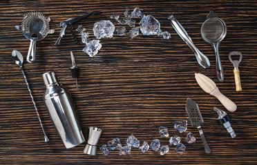 Arrangement of tools for making cocktails