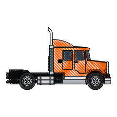 semi truck cab vehicle commerce outline vector illustration