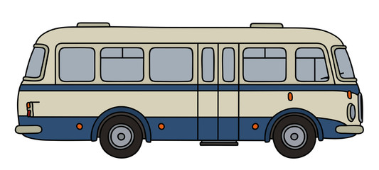 Old blue and white line bus