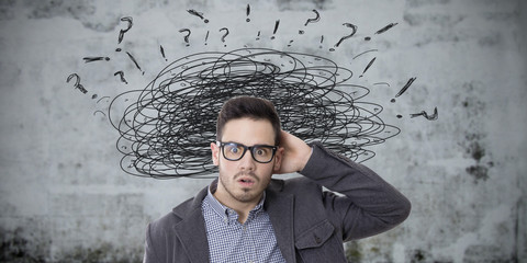 concept of man stressed with problems and complications