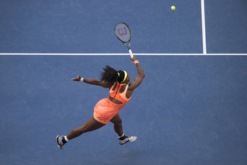 Williams of the U.S. returns a shot to compatriot Keys during their fourth round match at the U.S. Open Championships tennis tournament in New York