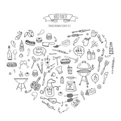 Hand drawn doodle BBQ party icons set Vector illustration summer barbecue symbols collection Cartoon various meals, drinks, ingredients and decoration elements on white background Sketch