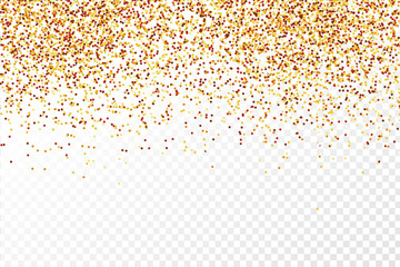 Vector realistic isolated golden confetti on the transparent background. Concept of happy birthday, party and holidays.