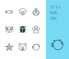 Animal Icons Set. Collection Of Starfish, Fish, Baboon And Other Elements. Also Includes Symbols Such As Monkey, Grizzly, Aquarium.