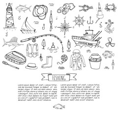 Hand drawn doodle Fishing icons set Vector illustration fishing equipment elements collection Cartoon fish catching concept Rod Baits Spinning Lure Boat Lighthouse Fishing cloth Inflatable Marlin
