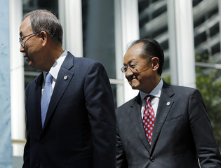 "World Bank Group President Jim and UN Secretary General Ban arrive at a program for the ""EndPoverty 2030"" campaign in Washington"