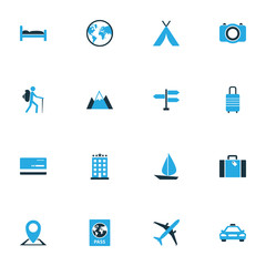 Exploration Colorful Icons Set. Collection Of Taxi, Airplane, Baggage And Other Elements. Also Includes Symbols Such As Tourist, Boat, Traveler.