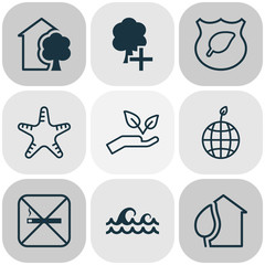 Eco-Friendly Icons Set. Collection Of Home, Cigarette, Sea Star And Other Elements. Also Includes Symbols Such As Ecology, Smoke, Insert.