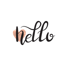 Vector isolated handwritten lettering Hello on white background. Vector calligraphy for greeting card, decoration and covering. Concept of greeting quote.