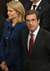 Prime Minister of Denmark Thorning-Schmidt and Prime Minister of Portugal Passos Coelho arrive for the 2012 Nobel Peace Prize ceremony at City Hall in Oslo