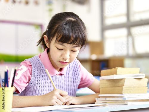 Asian Schoolgirl Studying In Classroom