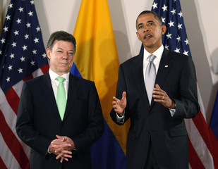 U.S. President Obama meets with Colombia's President Santos during a bilateral meeting in New York