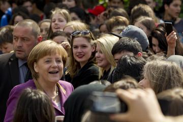 German Chancellor Angela Merkel visits the German Spanish Europa School Friedensburg on a European project day in Berlin