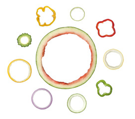 Assorted ring shaped fruit and vegetable peels