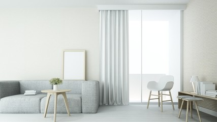 The interior minimal  living space in hotel  and decoration white background - 3D Rendering