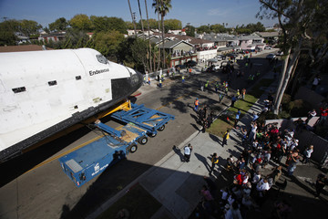 The Space Shuttle Endeavour is moved to the California Science Center in Los Angeles