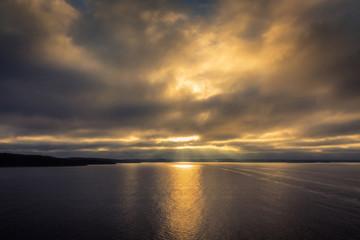 Sunset sky on sea