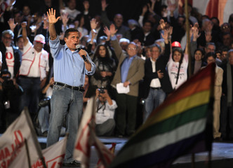 Peru's presidential candidate Humala speaks during his closing campaign rally in Lima