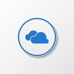 White circle with blue cloud inside. Blue cloud.
