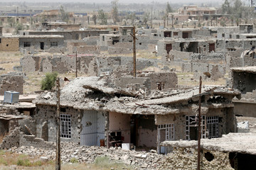 Destroyed buildings from clashes are seen on the outskirts of Falluja