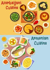 Armenian and azerbaijani cuisine icon set design