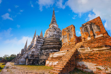 Wat Phra Si Sanphet temple at Ayutthaya Historical Park, a UNESCO world heritage site, Thailand