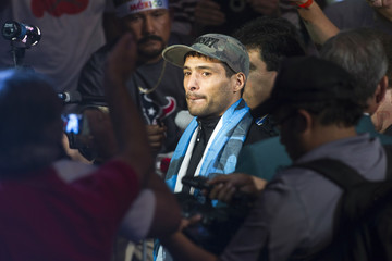Boxer Matthysse of Argentina arrives during an official weigh-in at the MGM Grand Garden Arena in Las Vegas,