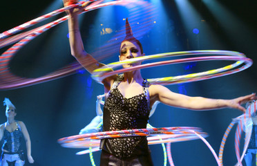 Members of artist group Bingo perform during a rehearsal of the new show of Swiss National-Circus Knie in the town of Rapperswil