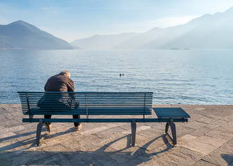 People side lake in Locarno, Switzerland